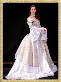 abito storico dama bianca del 1700 costume d,erpoca barocca