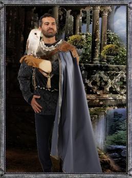 abito medio evo fantasy-falconiere medioevale-principe-favola-costume storico-costume a noleggio-veste teatro-sartoria teatrale-rievocazione storica